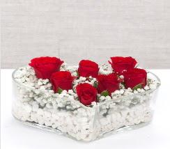 kalp içerisinde 7 adet kırmızı gül  Ulus Ankara çiçek mağazası , çiçekçi adresleri