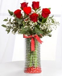 Cam vazoda 5 adet kırmızı gül kalp çubuk