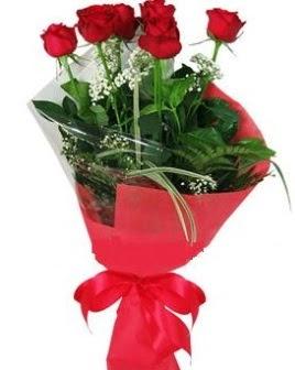 5 adet kırmızı gülden buket  Ulus Ankara çiçek satışı