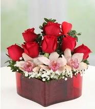 3 kandil orkide 5 kırmızı gül kalp mika  Ulus Ankara hediye sevgilime hediye çiçek