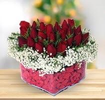 15 kırmızı gülden kalp mika çiçeği
