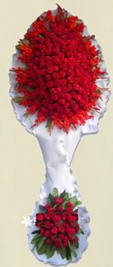 Çift katlı kıpkırmızı düğün açılış çiçeği  Ulus Ankara İnternetten çiçek siparişi