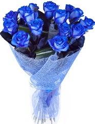 9 adet mavi gülden buket çiçeği