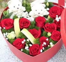 2 adet ayıcık 9 kırmızı gül kalp içerisinde  Ulus Ankara hediye sevgilime hediye çiçek