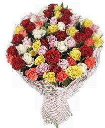 51 adet rengarenk gül buketi  Ulus Ankara çiçekçi telefonları