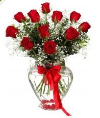 9 adet kırmızı gül cam kalpte  Ulus Ankara hediye çiçek yolla