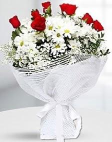 7 kırmızı gül ve papatyalar buketi  Ulus Ankara hediye sevgilime hediye çiçek