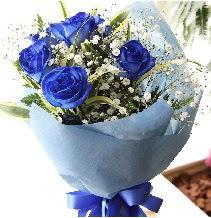 5 adet mavi gülden buket çiçeği