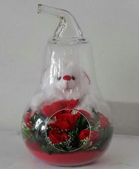 Orta boy cam armut Ayıcık ve yapay güller