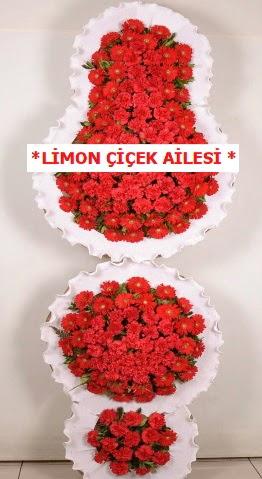 3 katlı kırmızı düğün açılış çiçeği