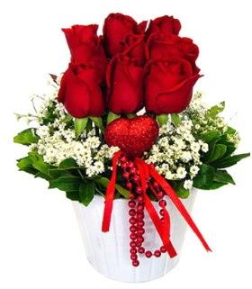 9 kırmızı gül seramik ve kalp çubuk