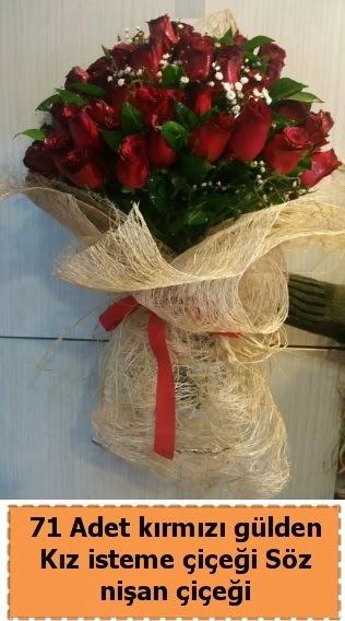 71 adet kırmızı gül söz nişan çiçeği