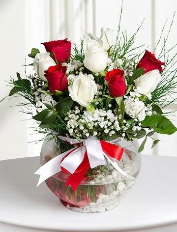 Aşk Küresi  5 beyaz 5 kırmızı gül fanusta  Ulus Ankara hediye sevgilime hediye çiçek