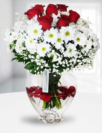Kalp camda 7 gül kır çiçeği süper görsellik