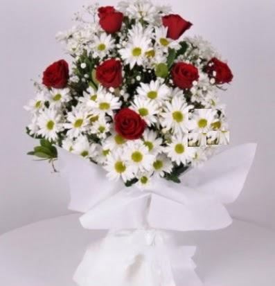 7 adet kırmızı gül ve papatyalar krizantem  Ulus Ankara hediye sevgilime hediye çiçek