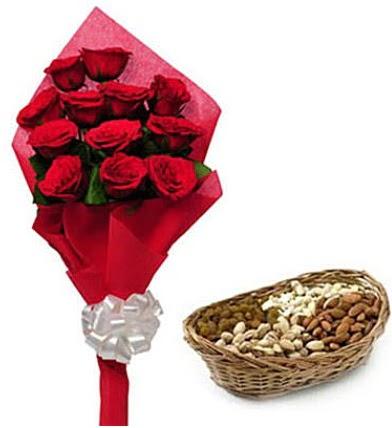 11 adet kırmızı gül ve sepette kuruyemiş  Ulus Ankara hediye sevgilime hediye çiçek