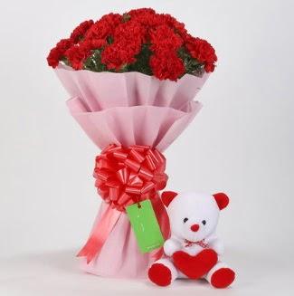 19 kırmızı karanfil buketi 15 cm ayıcık  Ulus Ankara çiçek mağazası , çiçekçi adresleri