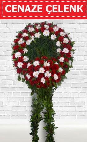 Kırmızı Beyaz Çelenk Cenaze çiçeği