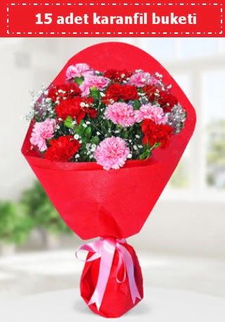 15 adet karanfilden hazırlanmış buket  Ulus Ankara yurtiçi ve yurtdışı çiçek siparişi