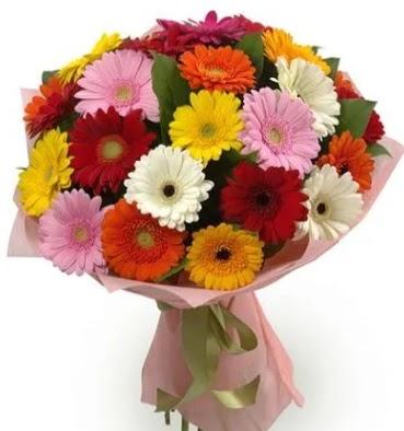 Karışık büyük boy gerbera çiçek buketi