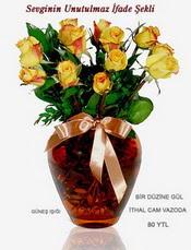 Ulus Ankara hediye sevgilime hediye çiçek  mika yada Cam vazoda 12 adet sari gül
